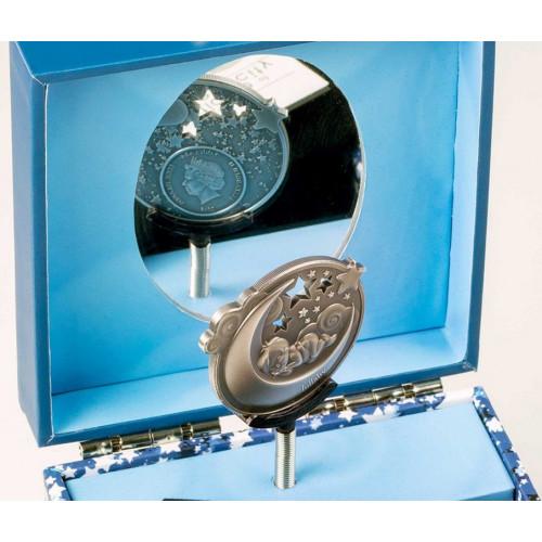 Muzikālā lādīte ar monētu - Šūpuļdziesma puisītim 1 oz, 999