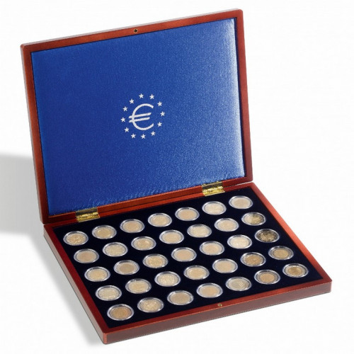 Sarkankoka monētu kaste VOLTERRA Uno de Luxe 2 EUR monētām