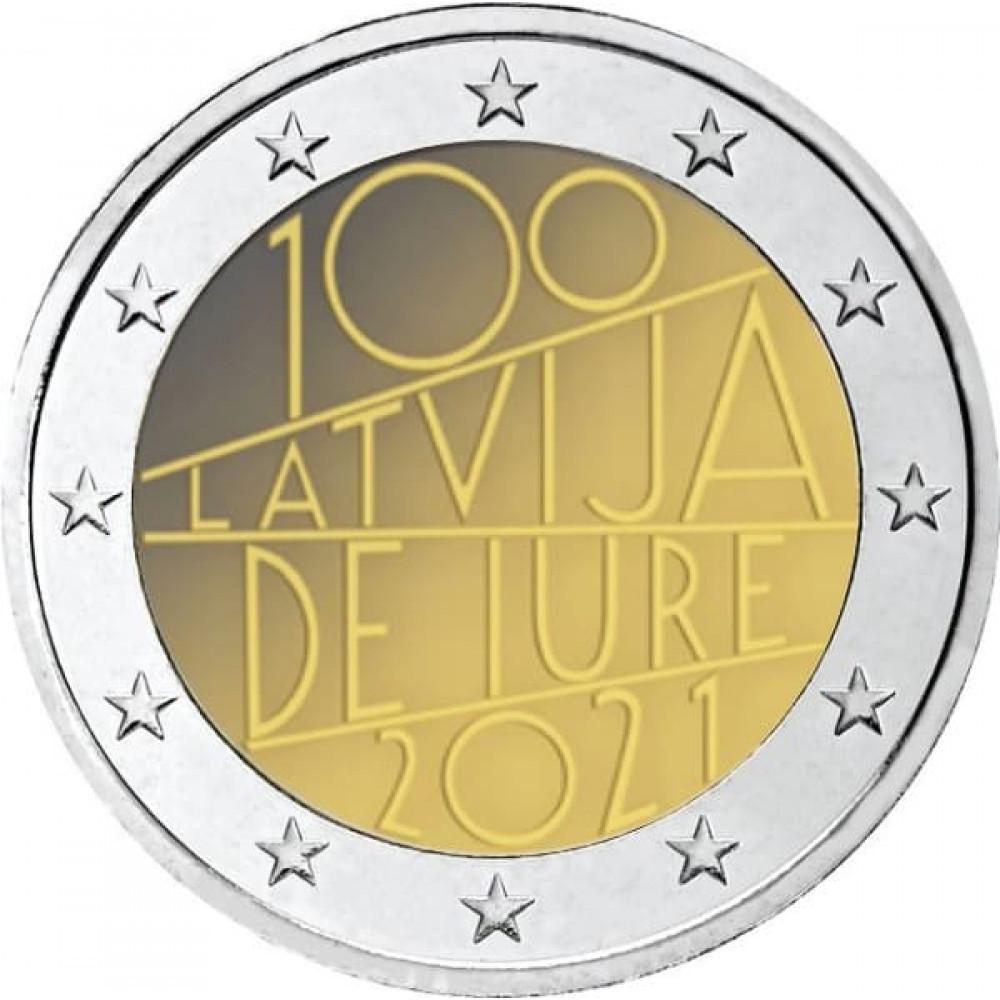 Latvijas 2 Eiro piemiņas monēta - Latvija de iure 100 (2021)
