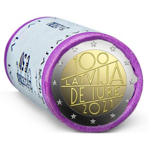 Latvijas 2 Eiro piemiņas monēta - Latvija de iure 100 (2021) (2x25 gab)