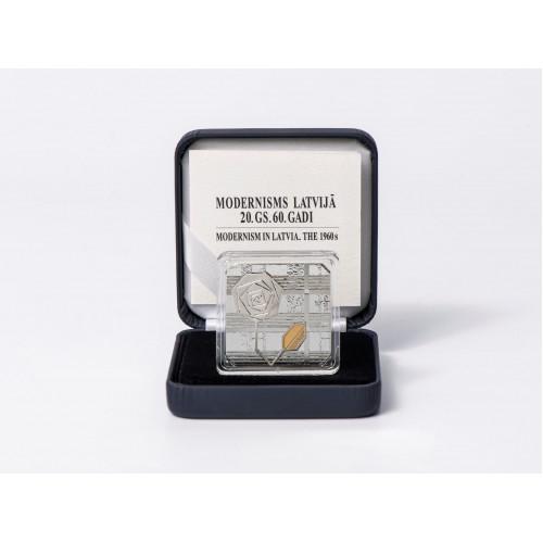 Latvijas Bankas kolekcijas monēta - Modernisms Latvijā. 20.gs. 60. gadi- 26.25 g, 925