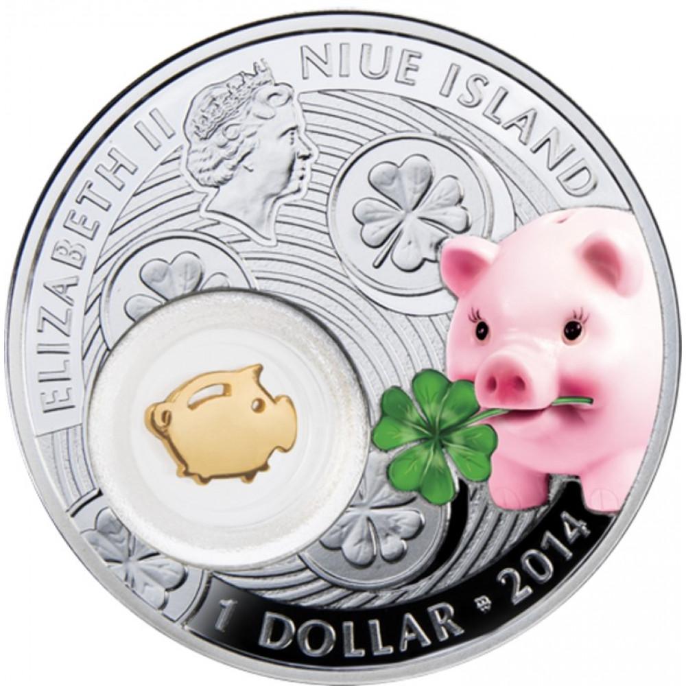 Sudraba Veiksmes Dāvanu Monēta - Cūciņa 14,14 g, 999