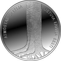 """Sudraba 5 Eiro Kolekcijas Monēta - Veltīta """"Baltijas ceļa"""" 25. Gadskārtai 22,00 g, 925"""