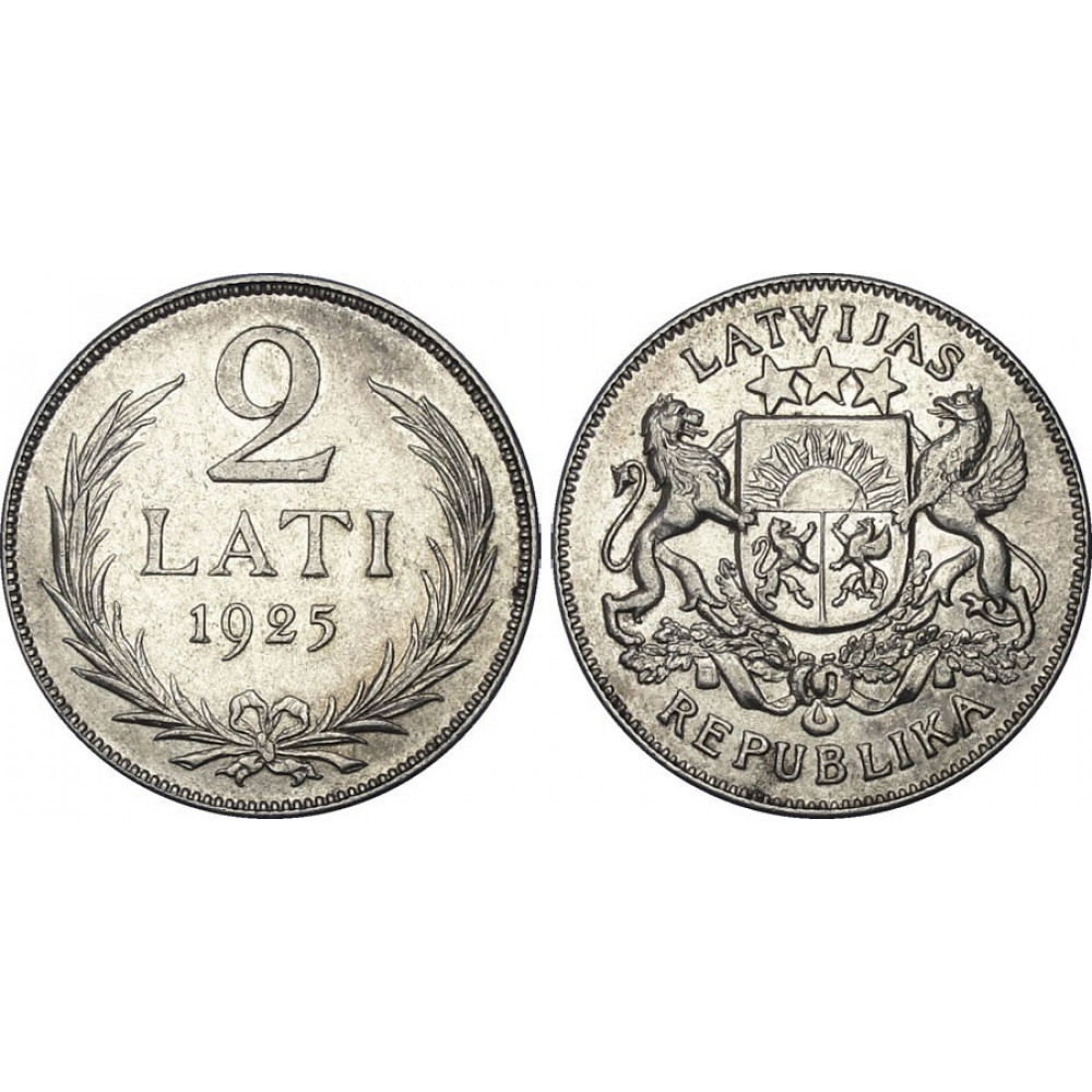 Sudraba Monēta - Latvijas Sudraba 2-latnieks 10 g, 835