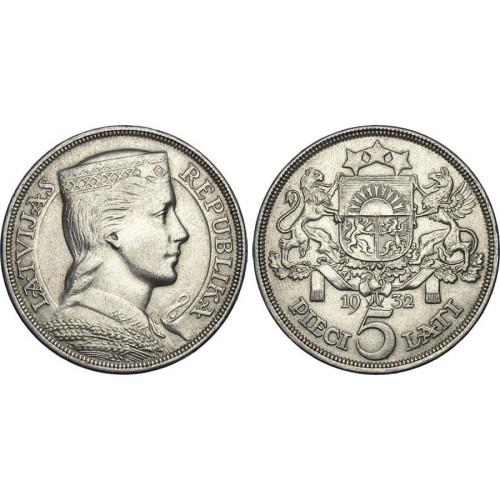 Sudraba Monēta - Latvijas Sudraba 5-latnieks 25 g, 835