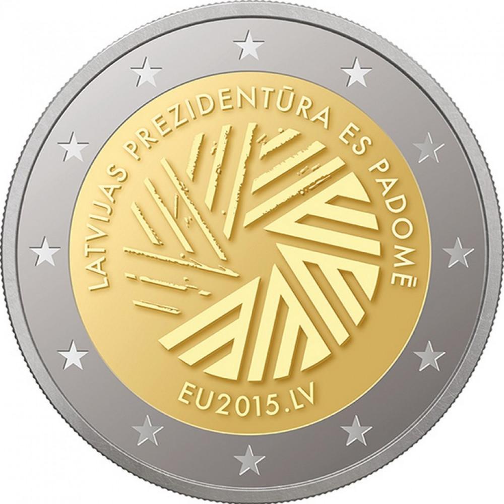 Latvijas 2 Eiro piemiņas monēta - Latvijas Prezidentūra ES Padomē 2015 (BU)