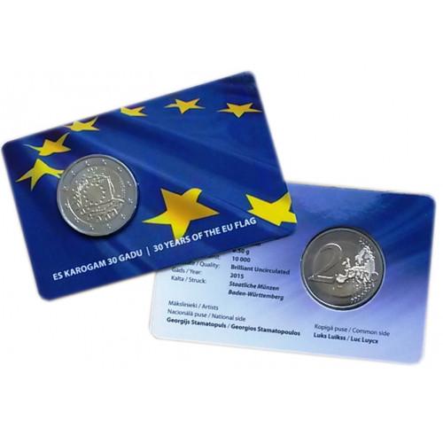 Latvijas 2 Eiro piemiņas monēta - Eiropas Savienības karogam 30 (2015) (BU)