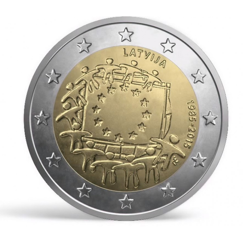 Latvijas 2 Eiro piemiņas monēta - Eiropas Savienības karogam 30 (2015)