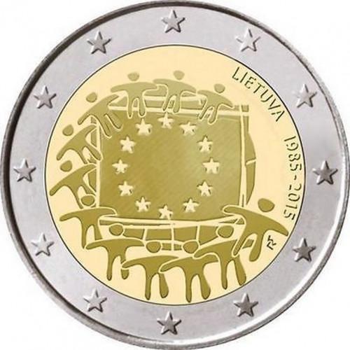 Lietuvas 2 Eiro piemiņas monēta - Eiropas Savienības karogam 30 (2015)
