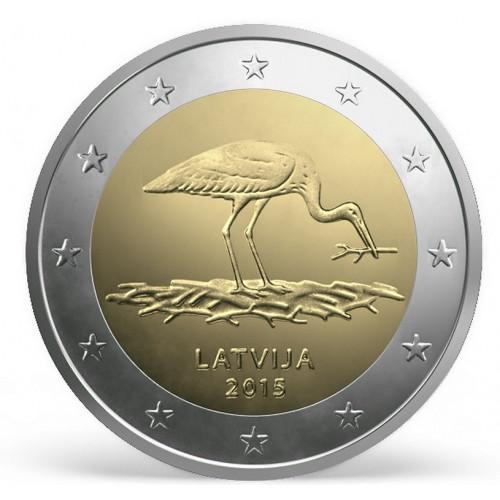 Latvijas 2 Eiro piemiņas monēta - Stārķis 2015