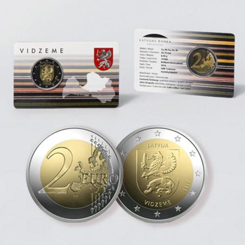 Latvijas 2 Eiro piemiņas monēta - Vidzeme (2016) (BU)